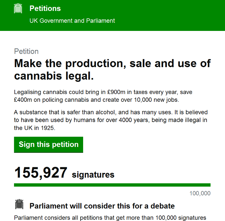 uk cannabis petition