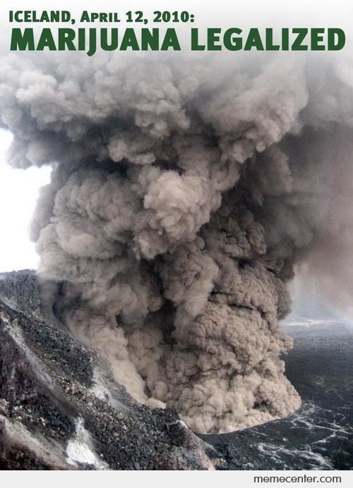 iceland volcano marijuana legalised meme